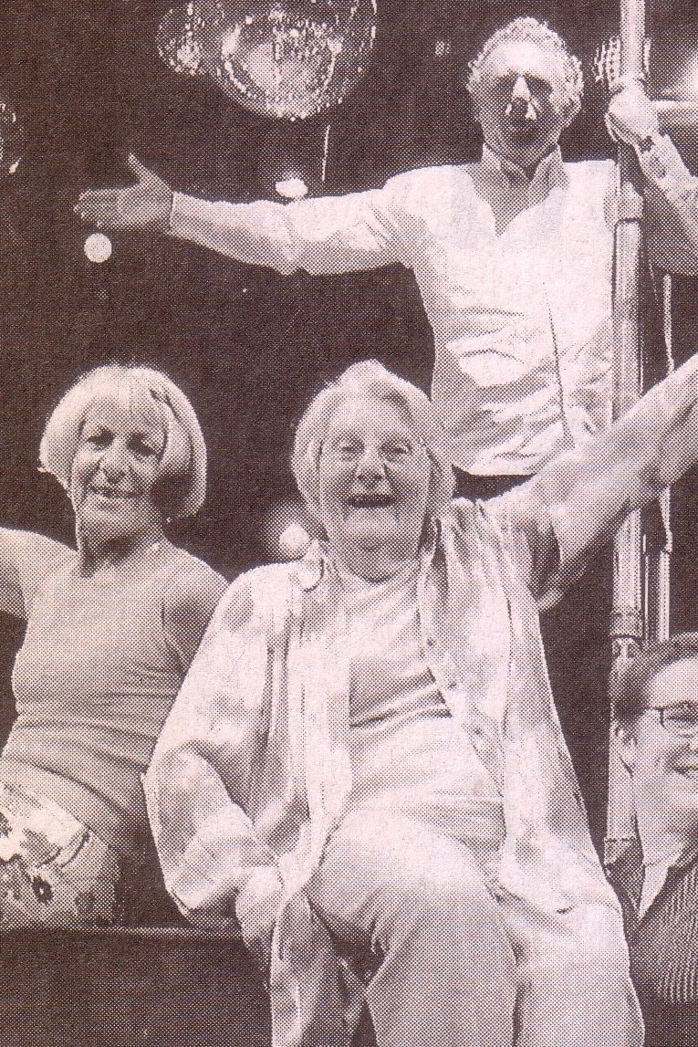 The Final Bow photo in The Australian September 19, 2003. L to R: Paul Dellit, Rosemary Walker, Bev Langford, Michael Forde, Anika Vilé & Ian Lawson.